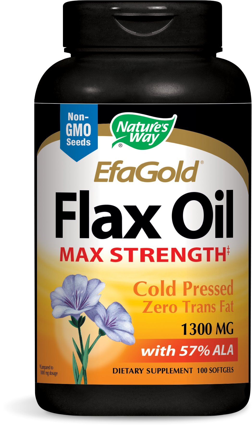 Nature's Way EfaGold Flax Oil,  1300 Mg, 100 Softgels