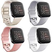 [4 Pack] Bandjes compatibel met Fitbit Versa 2, Fitbit Versa, Versa Lite/SE, Classic TPU Siliconen Sport Verstelbare…