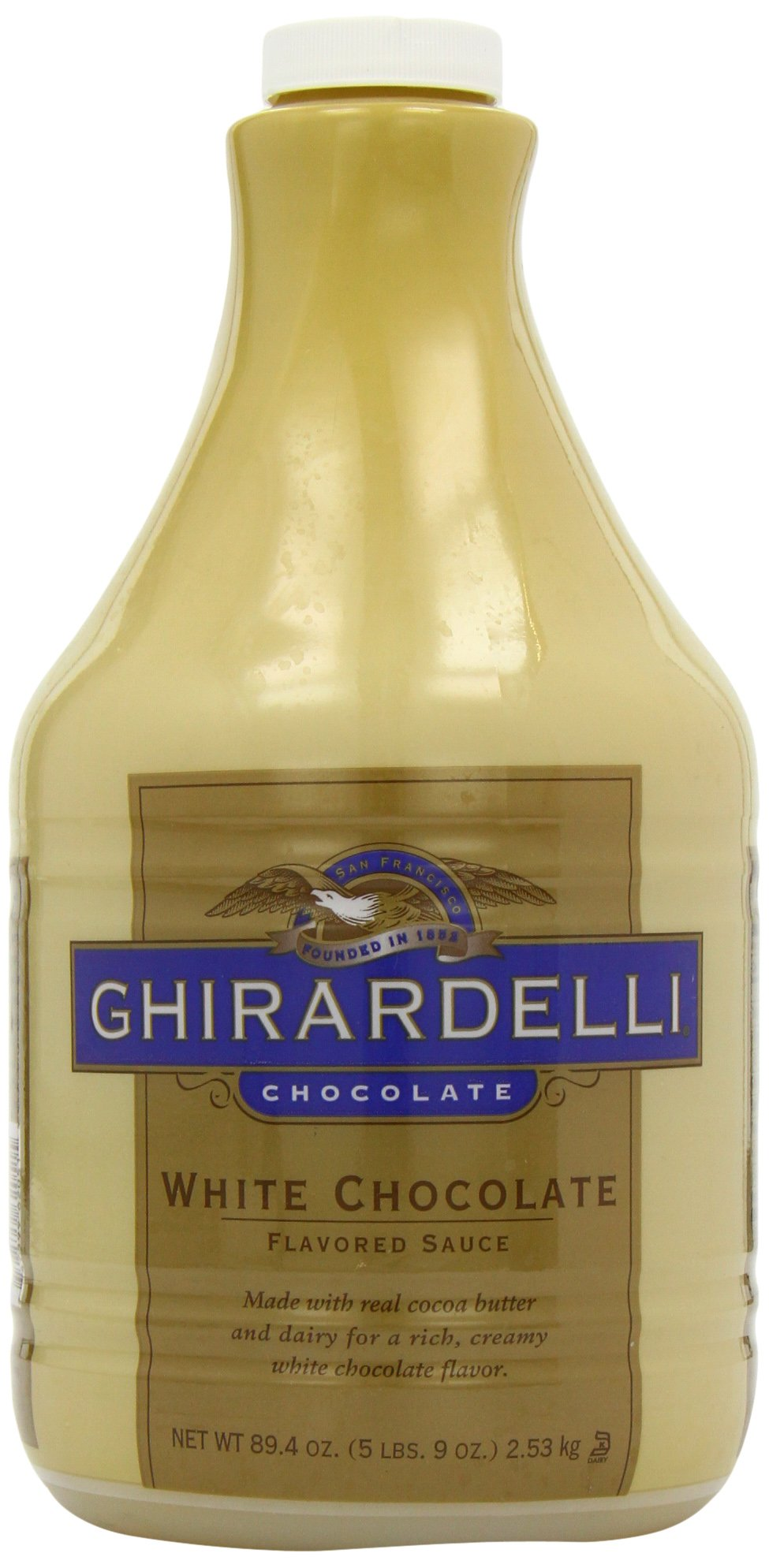 Ghirardelli Chocolate Flavored Sauce, Classic White Chocolate, 89.4 - Ounce Container