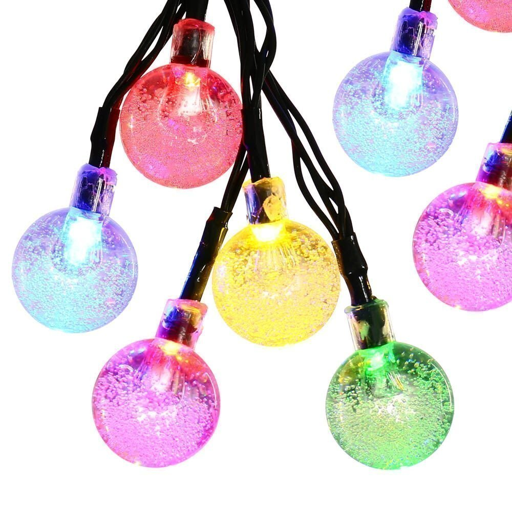 Icicle Crystal Solar String Lights 20Ft 30 Led Waterproof Outdoor Globe Fairy.. 18