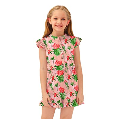 BesserBay Girls Summer Ruffled Flutter-Sleeve Jumpsuit Button Down Crewneck Romper 5-14 Years
