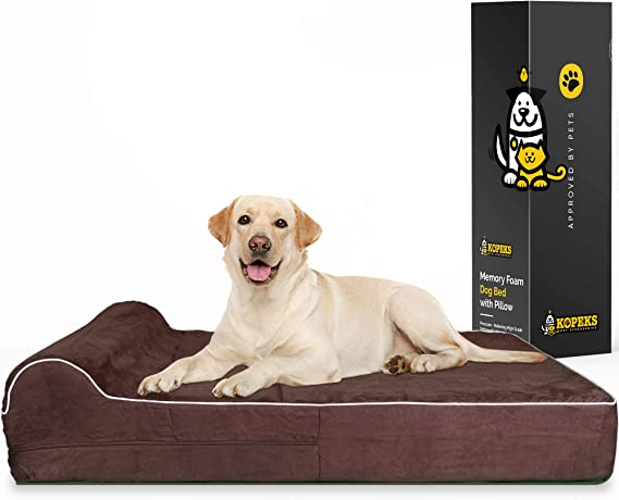 KOPEKS 7-inch Thick High Grade Orthopedic Memory Foam Dog Bed