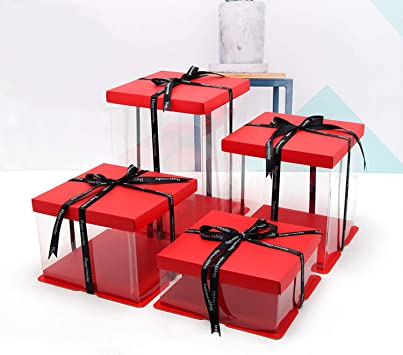 Red Cake Box Simple Caja de Regalo Transparente 4-16 Pulgadas ...