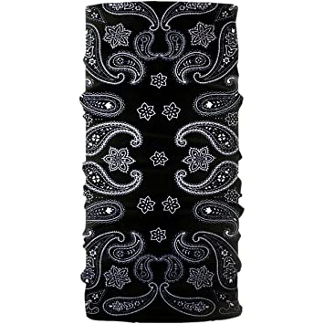 Original Buff Multifunctional Headwear Neck Tube Black /& White Paisley Pattern