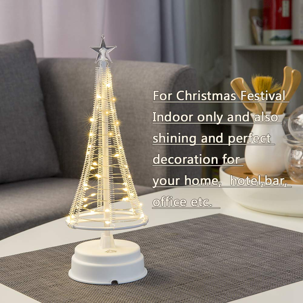 HONESTY Mini Christmas Trees 10Inch 40LED,Decorative Lights for Home/Decoration/Party/Wedding, USB or Battery Powered, Warm White Mini Lamp, Inside White S