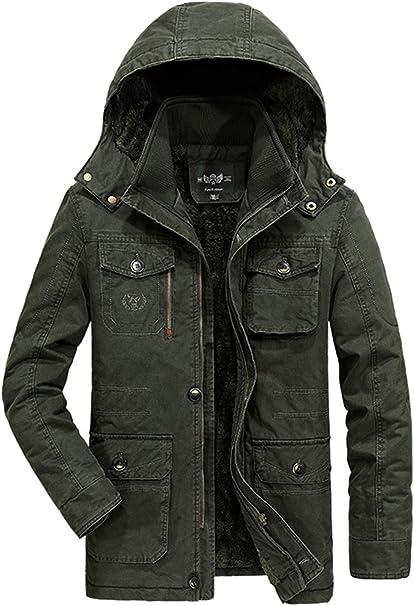 Mens Thick Fleece Winter Coat Hooded Outdoor Solid Color Jacket