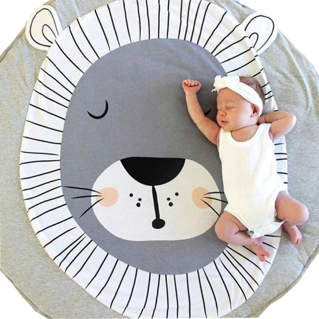 Baby Playmat Vibola Cartoon Crawling lion round carpet Baby Infant Creeping Mat Playmat Blanket Play Game Mat Room Decoration