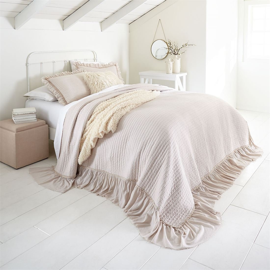 Brylanehome Madeline Ruffle Bedspread (Soft Taupe,King) by BrylaneHome