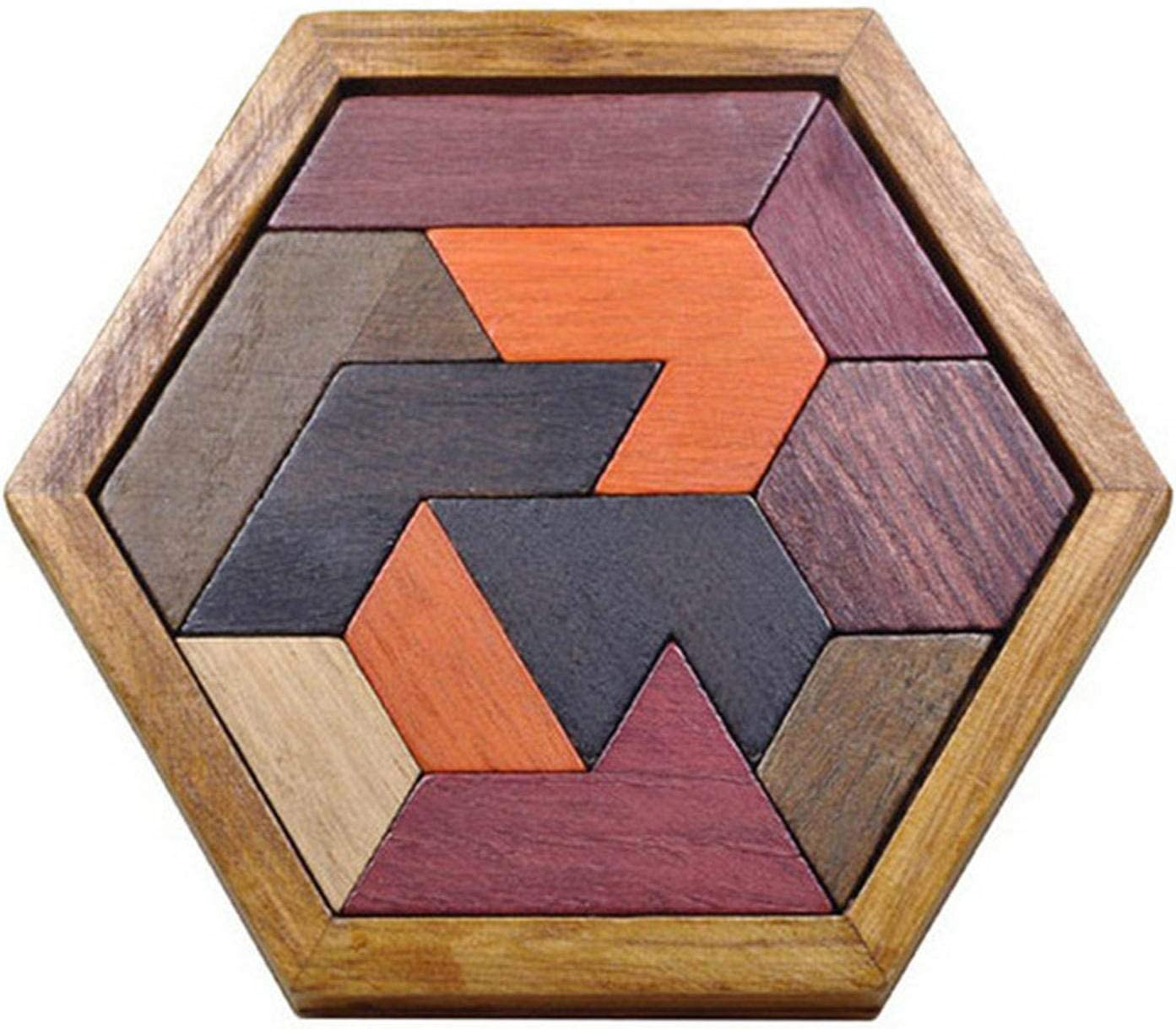 PETUFUN - Juego de bandeja, Tangra, Jigsaw Puzzle Toy - Juego de ajedrez educativo en forma hexagonal
