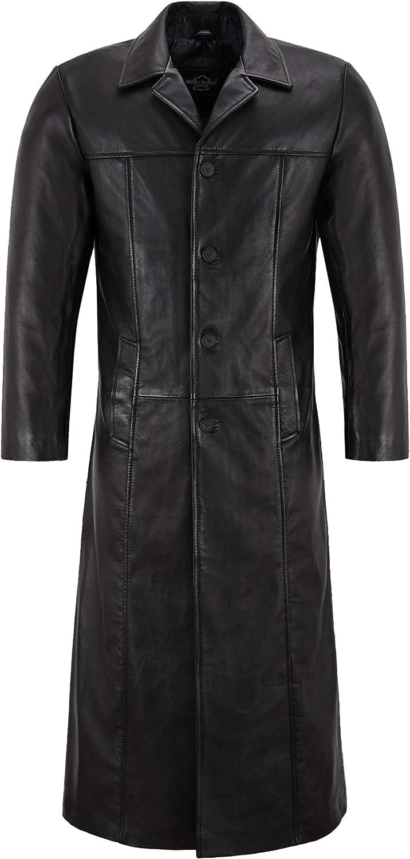 Smart Range Leather Abrigo Largo de Longitud Full-Length de la Serie Detective para Hombres, 100% Cuero de Cordero 3484