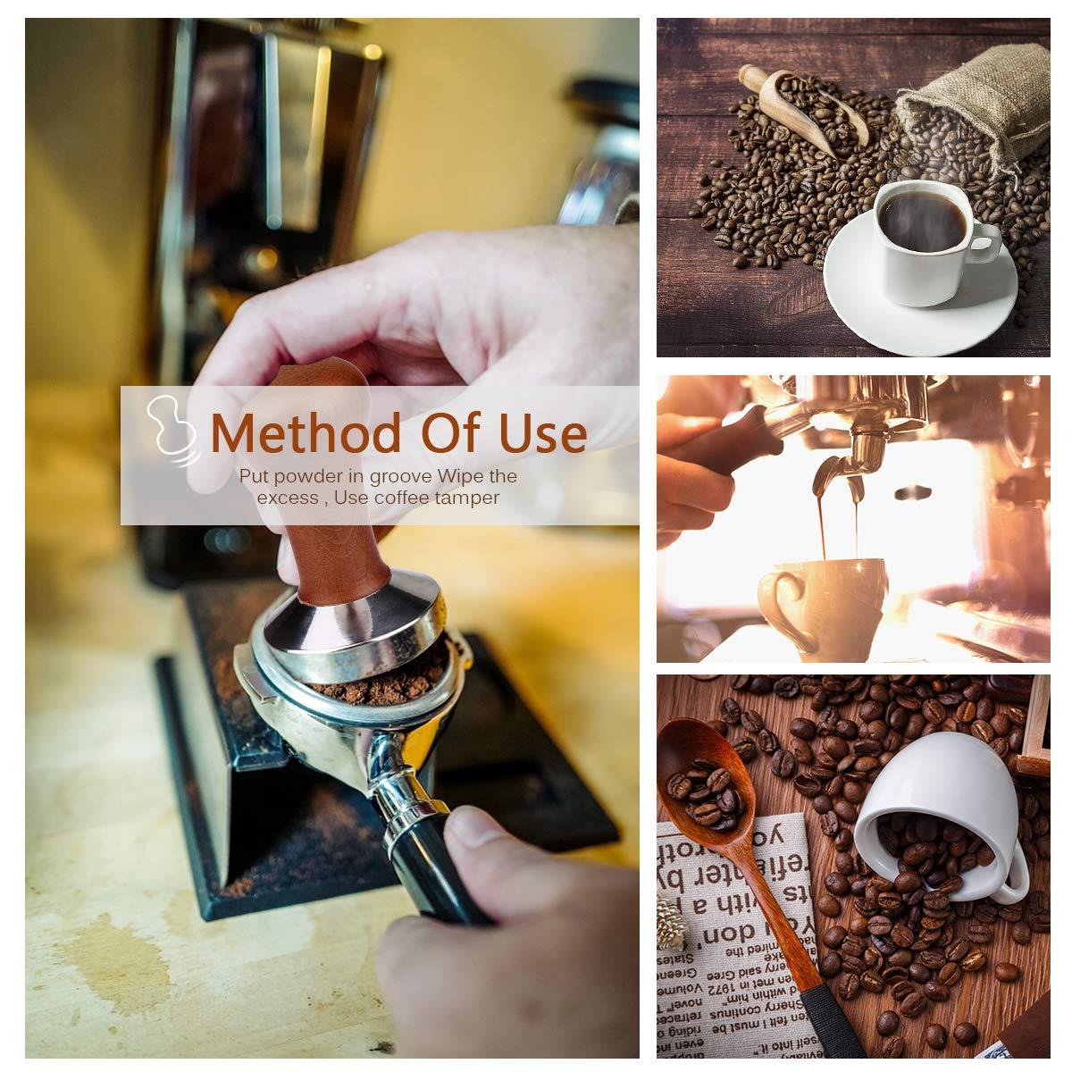 Kaffeedr/ücker- Kaffeemehlpresser F/ür Kaffeemaschine Siebtr/äger Matte Eyscoco Espresso Tamper 51mm 51mm Barista Tamper Set Espresso Stempel aus Edelstahl und Echtholzgriff inkl