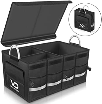 Minivan Adjustable Compartments Foldable Portable Trunk Organizer with lid Heavy Duty Durable Car Organizer Removable Flexible Storage Groceries Bag Truck Trunk Organizer for SUV BLACK, 2 IN 1