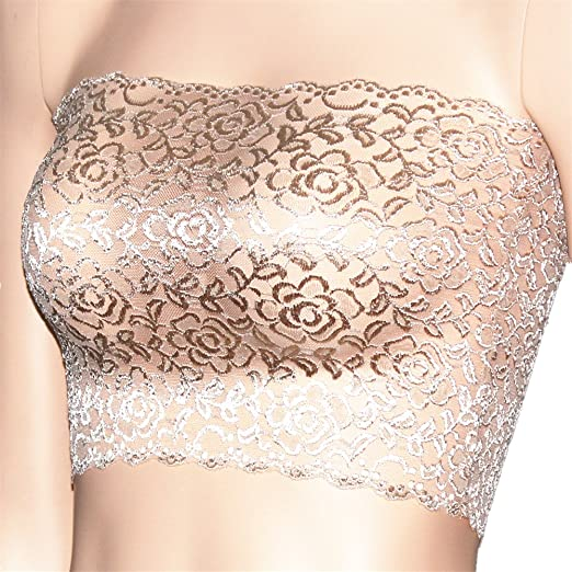 fd4890f2345 CENG MAU Women s Plus Size Floral Lace Unlined Stretchy Strapless See  Through Bandeau Tube Top(