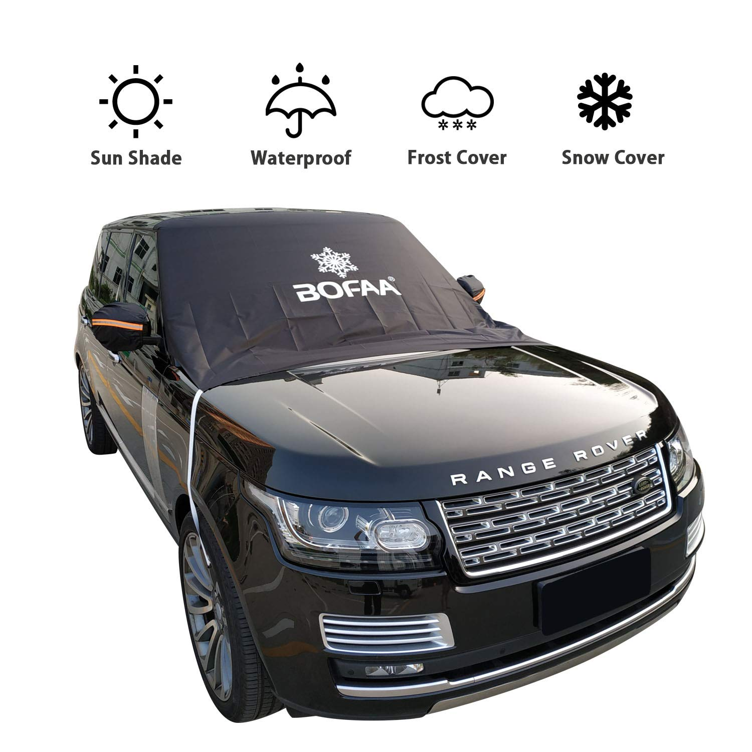 BOFAA Car Windshield Snow Cover (Non-Magnetic), Windshield Cover with Mirror Covers,Blocking Snow, Fallen Leaves, UV Sun Rays,Elastic Hooks Design Will Not Scratch Paint (L - 96 x 59 inches) Windshield Cover with Mirror Covers, Blocking Snow