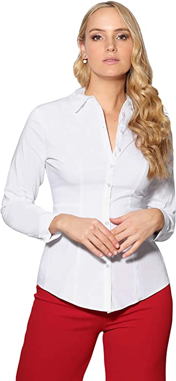 Blusa Blanca Entallada (3166-WHT-18): Amazon.es: Ropa y accesorios