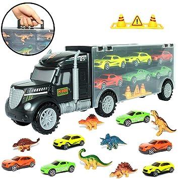 Buyger Jouet Avec Transporteur De Camion Dinosaures 6 Miniature dQshrCt