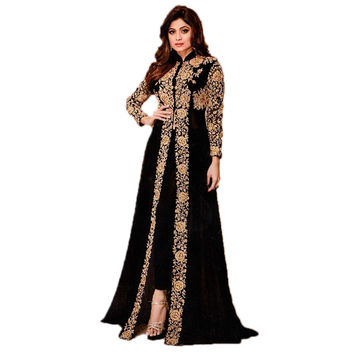 Buy Fashion House Festive Party Wear Black Color Front Cut Heavy Embrodery Designer Suit At Amazon In