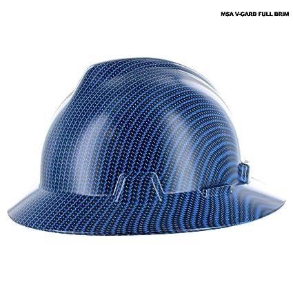 Rugged Blue Custom Hydro Dipped Black/Blue Fiber Hard Hat MSA V-Gard Full  Brim