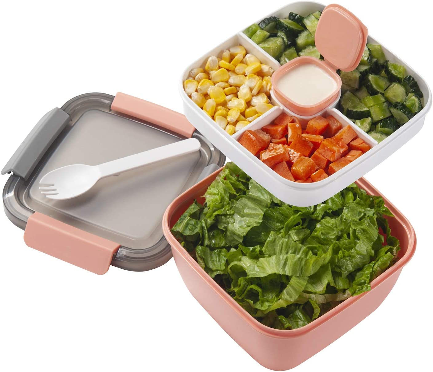 Freshmage Salad Lunch Container To Go, 42-oz Salad Bowls with 3 Compartments, Salad Dressings Container for Salad Toppings, Snacks, Men, Women (Pink)