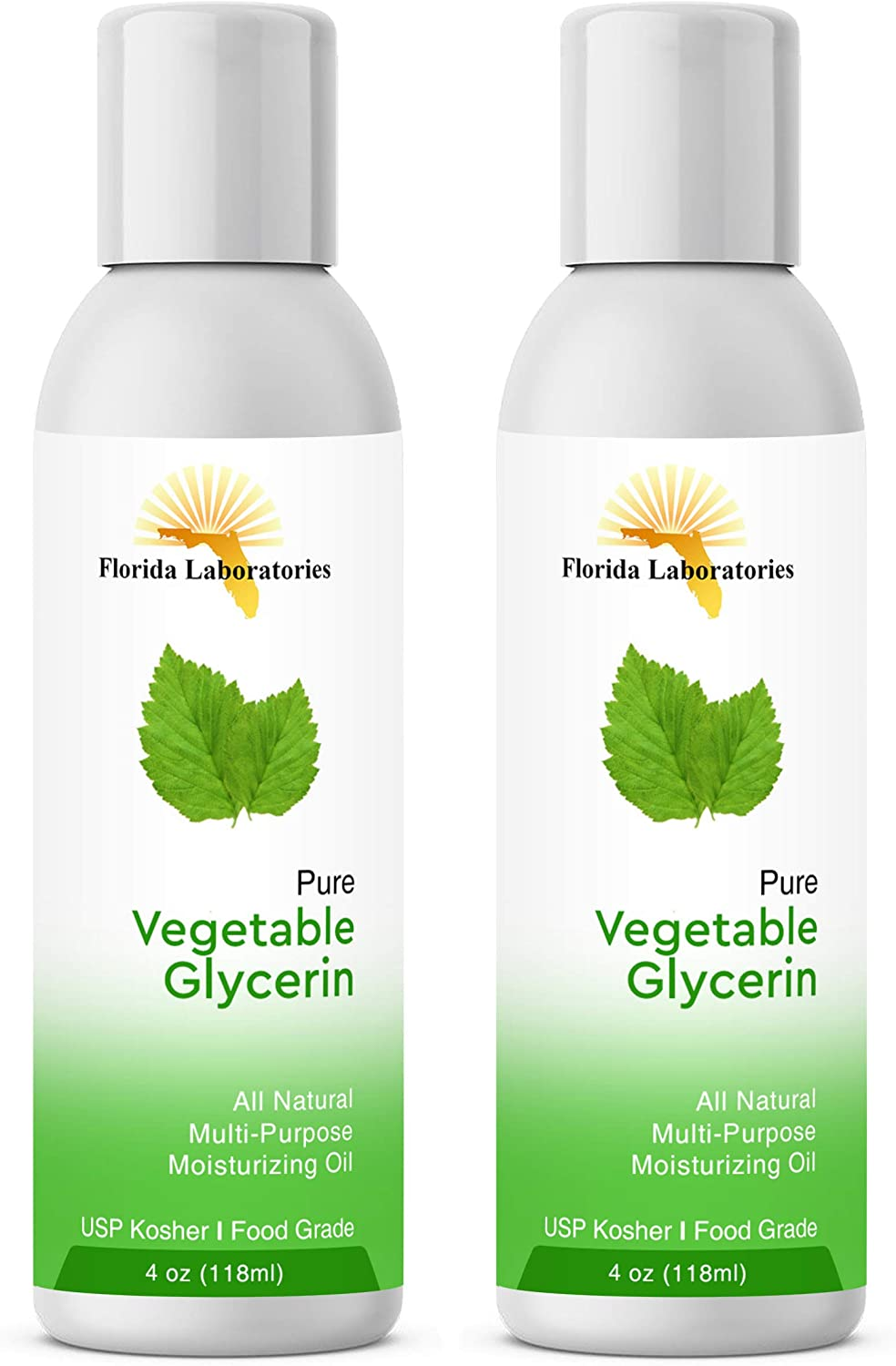 2 Bottles 4 oz of Vegetable Glycerine USP VG Kosher VG 99.9% Pure Food Grade