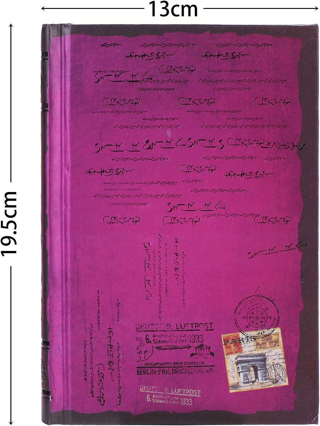 A5 diario di lavoro quaderno a righe con nastro segnalibro diario di viaggio formato A4 Quaderno a righe con copertina rigida stile vintage A4 Viola