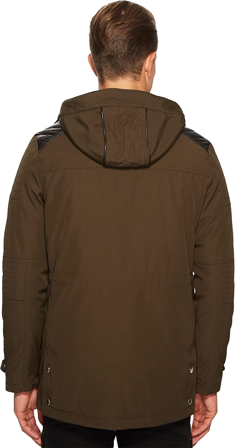64e8d36819 The Kooples Men's Parka with Crossed Topstitching Khaki Small at Amazon  Men's Clothing store: