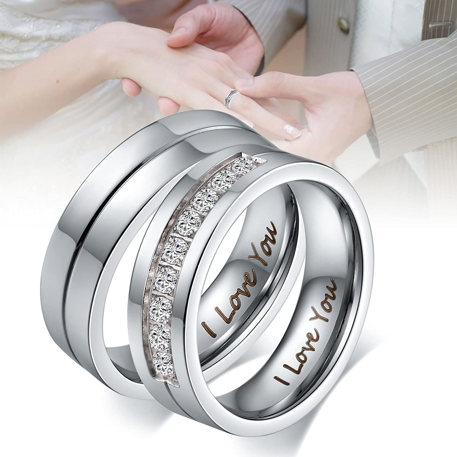 Bishilin Silver Plated Cubic Zirconia Inlaid Promise Ring Eternity Love 2Pcs Set Size 9.5