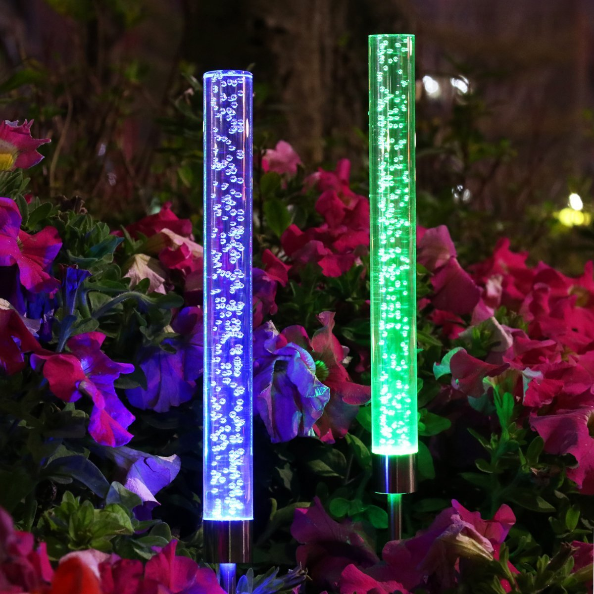 YUNLIGHTS 2pcs Garden Solar Lights Outdoor Solar Tube Lights Solar Acrylic Bubble RGB Color Changing Solar Powered Garden Stake Lights for Garden Patio Backyard Pathway Decoration