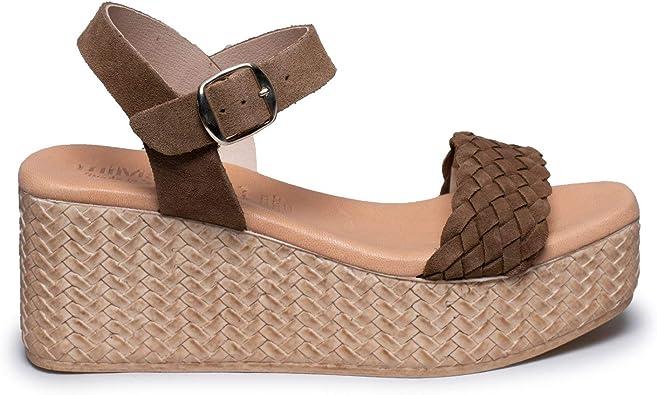 Zapatos miMaO. Zapatos Piel Mujer Hechos EN ESPAÑA. Sandalia Cuña ...