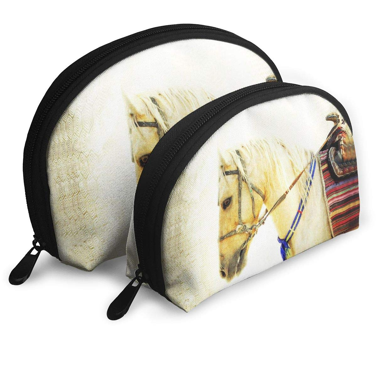 Native American Southwest Horse Animal Shell Portable Bags Clutch Pouch Cosmetic Makeup Bag Pouch 2Pcs