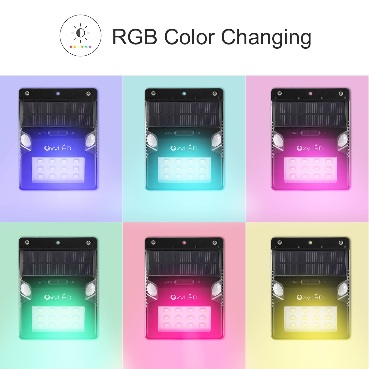 Solar Lights, OxyLED Wireless 12 LED Solar Motion Sensor Step Lights, Outdoor Wall Lights, Security Color-Changing Lights, Waterproof Landscape Light for Outdoor, Garden Decor, Patio, 2 Pack by OxyLED (Image #5)