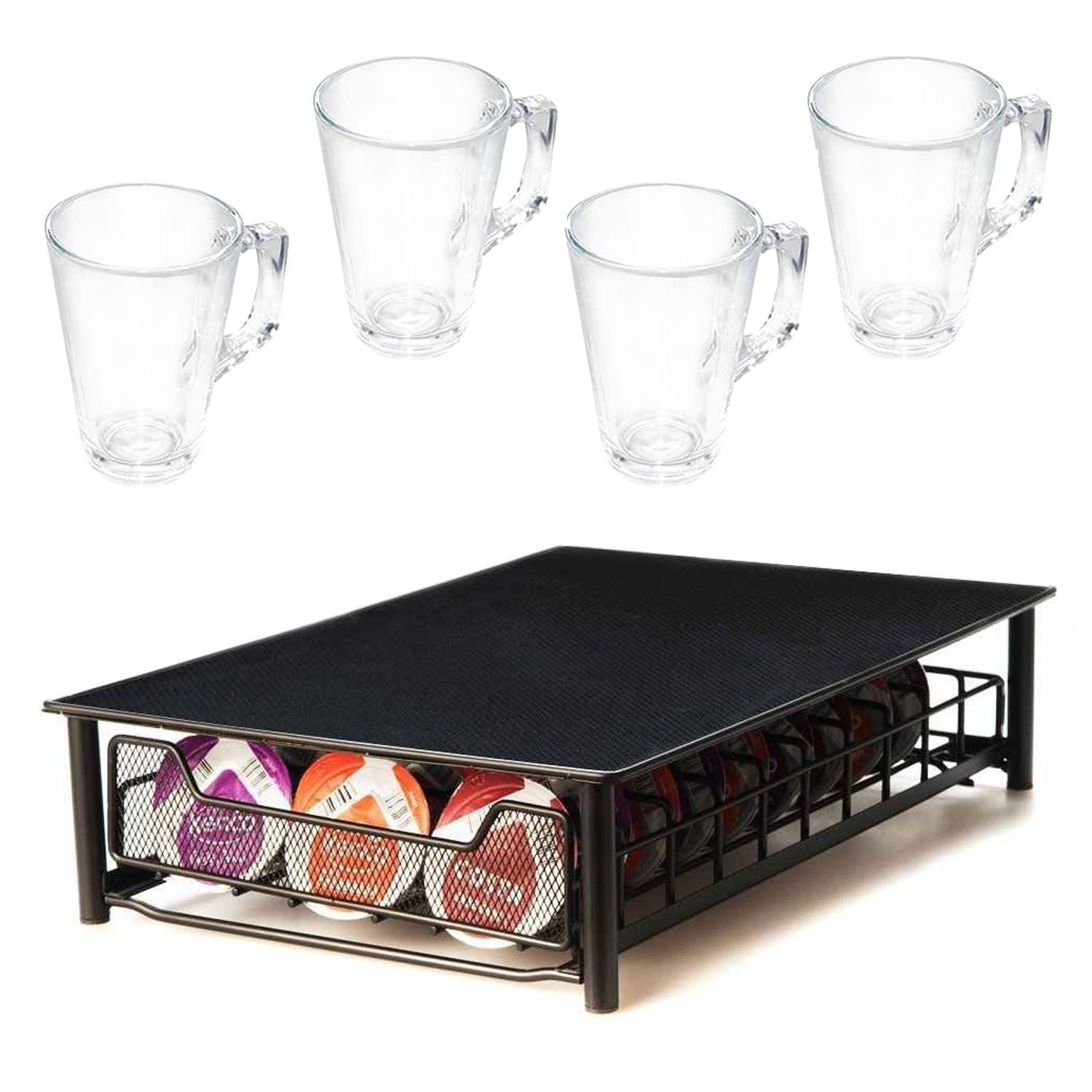 Direct Online Houseware RKW2534-B/RKG2248-S4 Coffee Capsule Drawer and Glasses Set, Black
