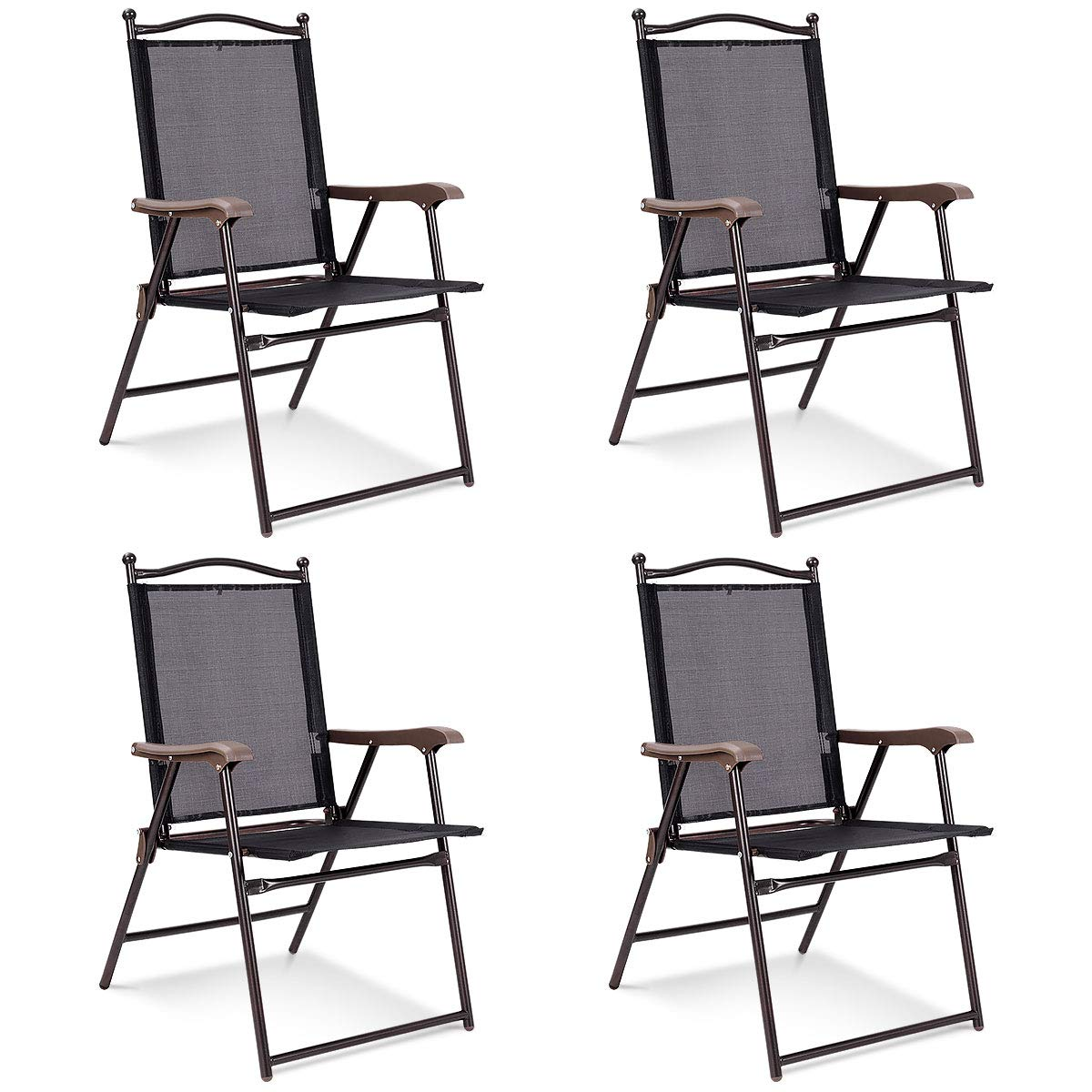 c0226b4db794 Giantex Set of 4 Folding Sling Back Chairs Indoor Outdoor Reclining Camping  Chairs Garden Patio Pool