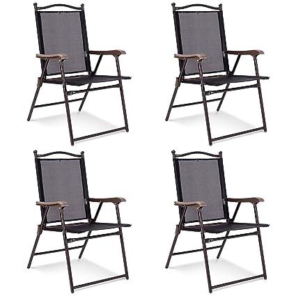 Amazon.com: Giantex - Juego de 4 sillas plegables con ...