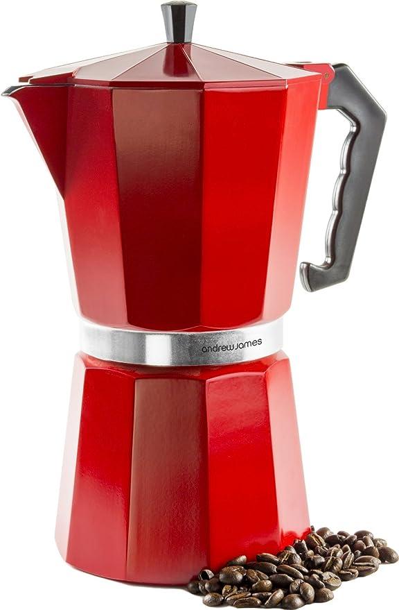 Andrew James – Cafetera italiana de 12 tazas – Rojo – Espresso ...