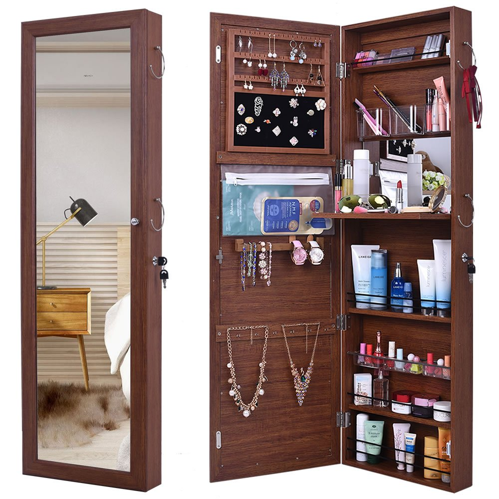 GISSAR Jewelry Mirror Armoire Wall Mount Over The Door ...