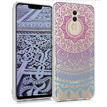 kwmobile Funda para Huawei Mate 20 Lite - Carcasa de TPU para móvil y diseño de sol hindú en azul / rosa fucsia / transparente