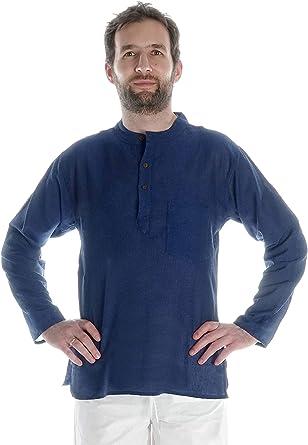HEMAD Camisa para hombre, de pesca, Beige, Azul, Negro, S – XXXL, algodón