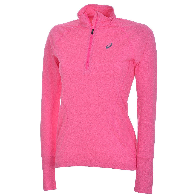 ASICS Damen Laufshirt Jersy 1/2 Zip Runningshirt 131803 Pink Glow Heather