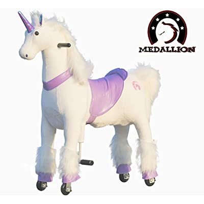 Medallion - My Pony Ride On Real Walking Horse for Children 5 to 12 Years Old or Up to 110 Pounds (Color Medium Purple Unicorn) for Girls 5 to 12 Years Old: Toys & Games