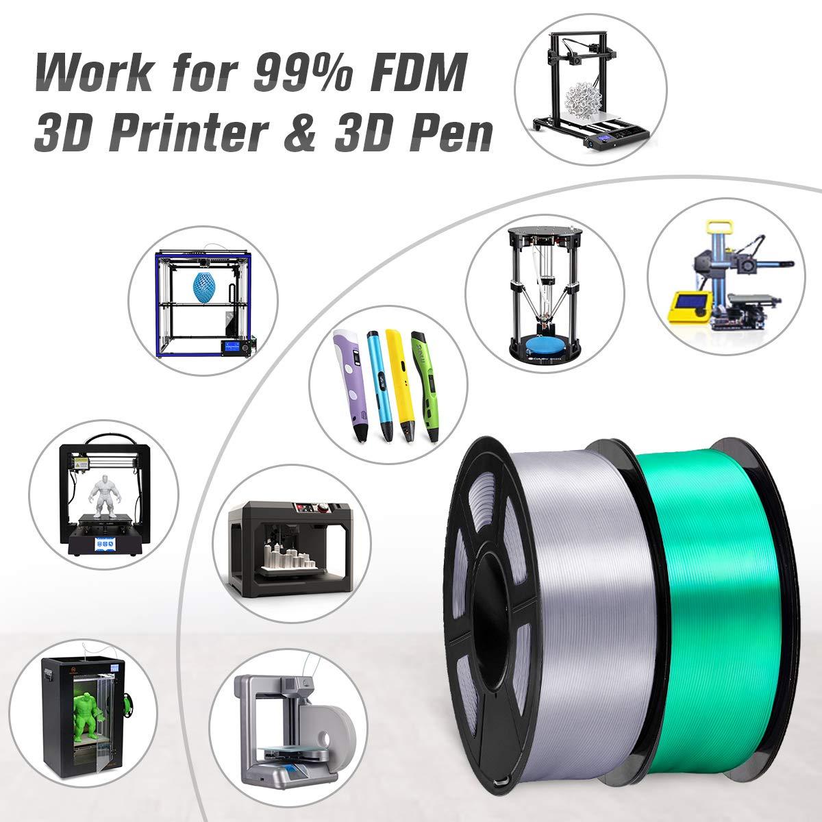 SUNLU 3D Filament 1.75 Black/ 1KG PLA Filament 0.02mm for 3D Printer 3D Pens Shiny Silk PLA Filament 1.75mm