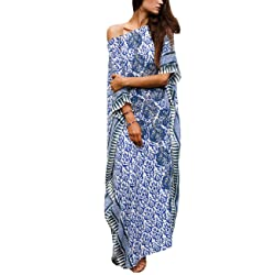 9ba65c344a Bsubseach Women Bathing Suits Cover Up Ethnic Print Kaftan Beach Maxi Dress
