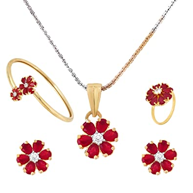b168ce4bd24c2 Buy Cardinal American Diamond Ruby Combo Of Necklace Pendant Set ...