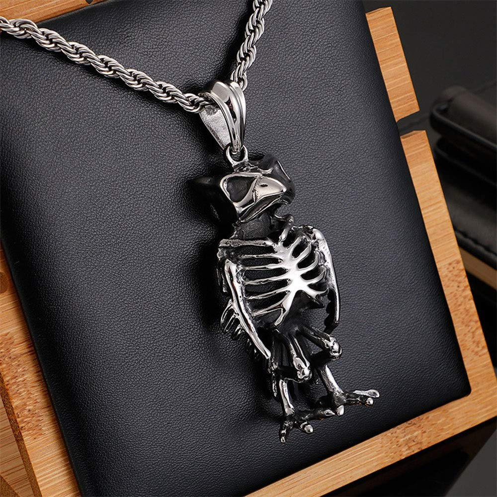 Color : Silver Black, Size : 6027MM JIANGXIUQIN Mens Necklace Mens Stainless Steel Gothic Eagle Head Skull Pendan Retro Vintage Oxidized Punk Necklace Silver Black Punk Gothic Style