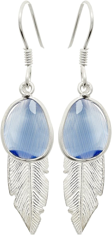 Pendientes de pluma con piedra azul en color plata con cierre tipo hippy Zury