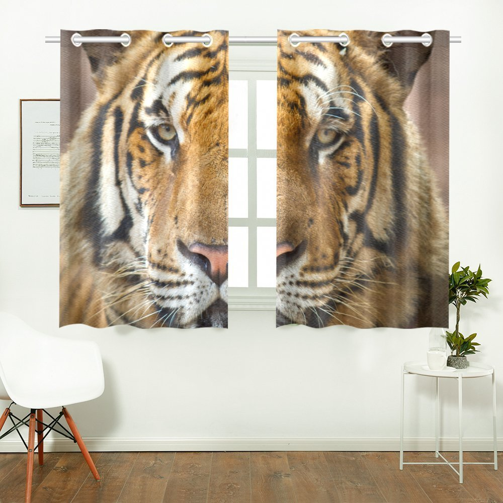 Tiger Pattern Print Window Treatment Panel Curtains, 2 PCS 26x39 Inch, for Living Room Bedroom Home Decor
