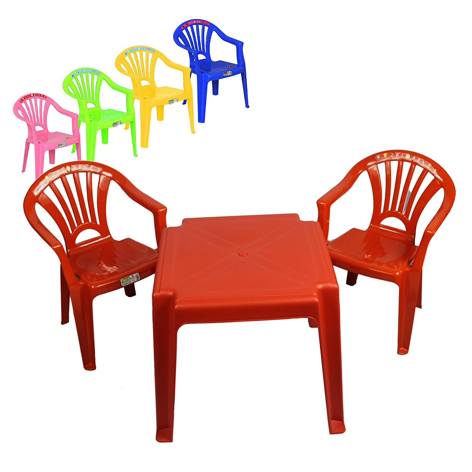 Children 2 Chairs and table Set Furniture for Boys and Girls for Activity Play and Study in Pink, Blue, Red, Yellow Green (Blue) Toyo