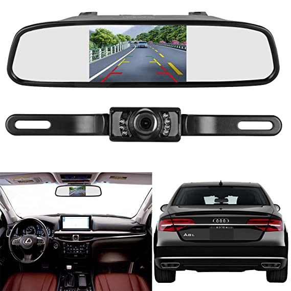 Amazon leekooluu reverserear view camera and mirror monitor leekooluu reverserear view camera and mirror monitor kit only wire single power rear view asfbconference2016 Gallery
