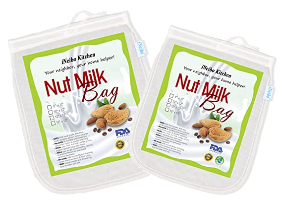 iNeibo Bolsa de leche de nuez, tela de filtración hecha de nailon resistente al desgarro. Juego de 2: 25x30cm y 30x30cm: Amazon.es: Hogar