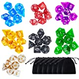 Paxcoo 7 x 7 (49 Pieces) Polyhedral Dice with Pouches for Dungeons and Dragons DND RPG MTG D20 D12 D10 D8 D6 D4
